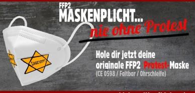 Sven #Liebich ist ein Antisemit. Wer solche Masken verkauft, versucht ganz bewusst den #Holocaust zu verharmlosen. #Halle #Maskenpflicht