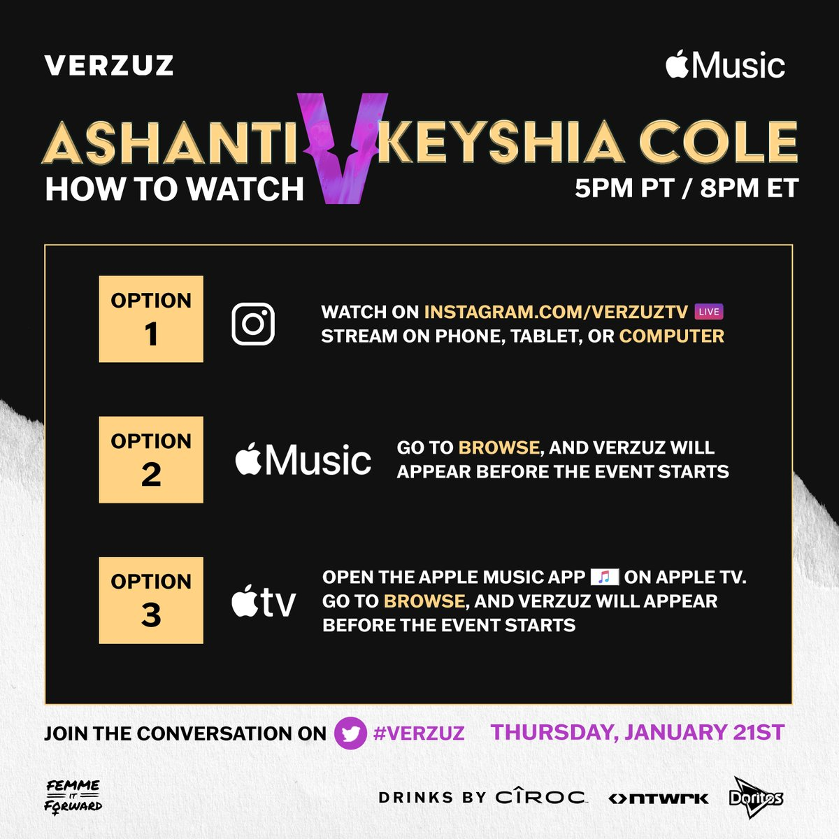 HOW to watch tonight's #VERZUZ with @Ashanti and @KeyshiaCole 🔽  On Instagram:  On Apple Music:
