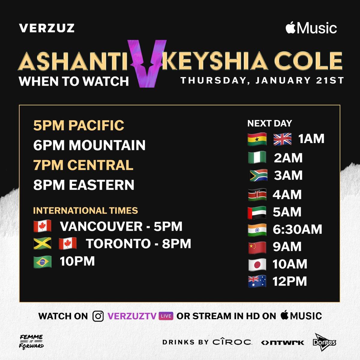 WHEN to watch tonight's #VERZUZ with @Ashanti and @KeyshiaCole 🔽