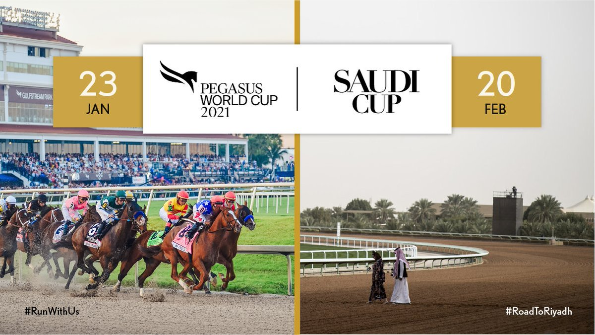🇺🇸 From @GulfstreamPark to 🇸🇦 King Abdulaziz Racecourse.  We're looking forward to seeing who qualifies for #TheSaudiCup races at the @PegasusWorldCup this weekend.  #RunWithUs #RoadToRiyadh