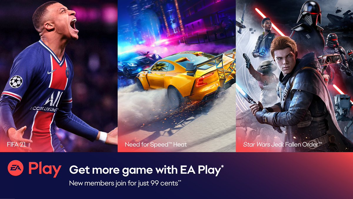 Don't just get the game. Get more from your game with #EAPlay. 💥  And right now new members can score a full month of more rewards, more exclusive content, and unlimited access to more top titles for less than a dollar! 💯  Find out more: