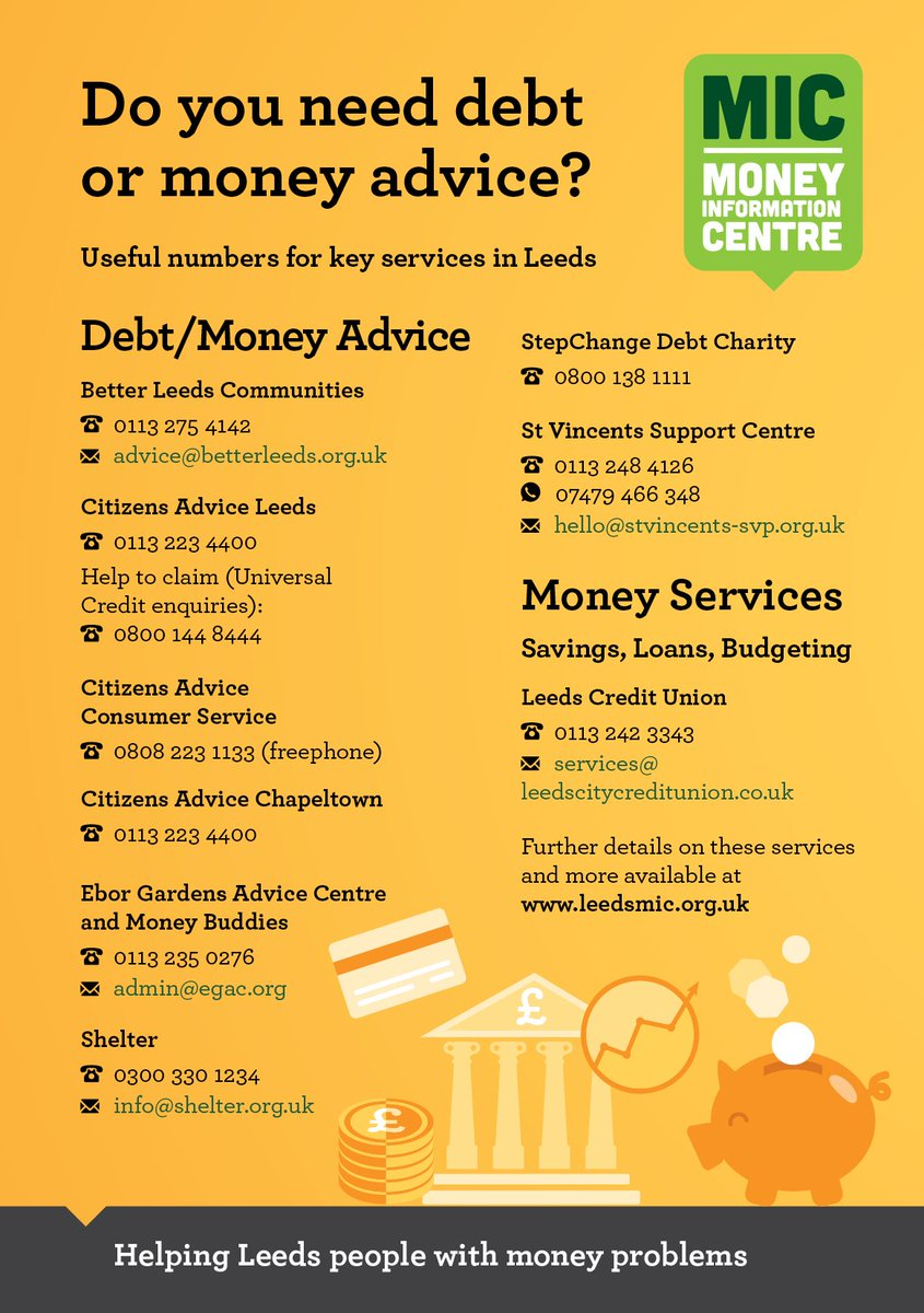 If youre struggling financially for any reason, you might be eligible for benefits or other support. @LeedsMIC can help you find free, impartial and confidential help with bills, debt, money benefits, emergency food, low cost loans & employment support: orlo.uk/L61q4