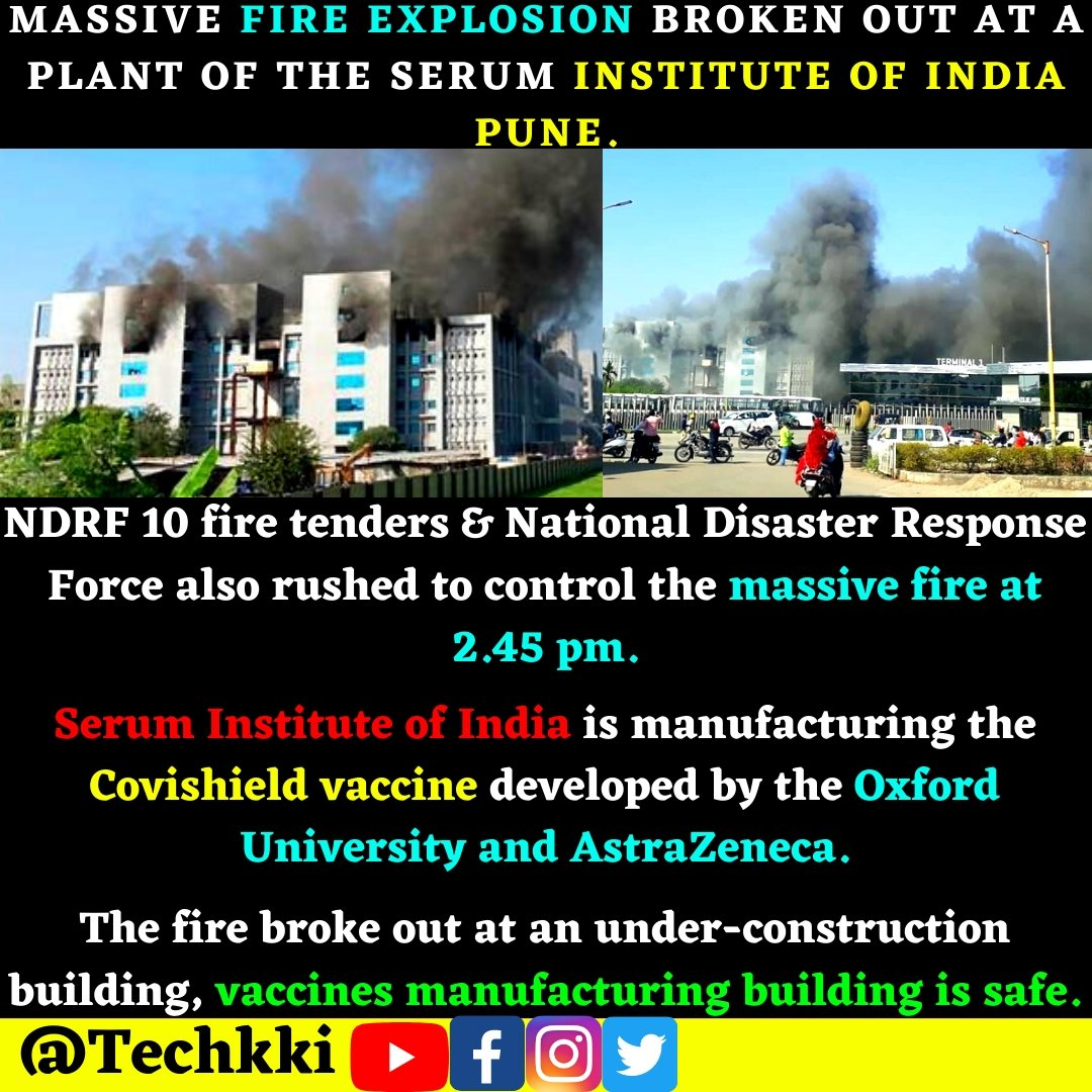 *Massive fire explosion broken out at a plant of the Serum Institute of India Pune.*  #pune #newsupdate #india #ndrf #covishield  #COVID19 #COVID #oxford #vaccines #covidvacccine #disaster #fire #health #Institute #seruminstituteofindia #astrazeneca #manufacturing #massiveattack