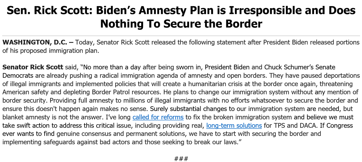 Day 1 & @POTUS & @SenateDems are already pushing a radical immigration agenda of amnesty & open borders. We need substantial immigration system changes, but blanket amnesty is not the answer. Finding genuine consensus & permanent solutions starts with securing the border. More ⬇️