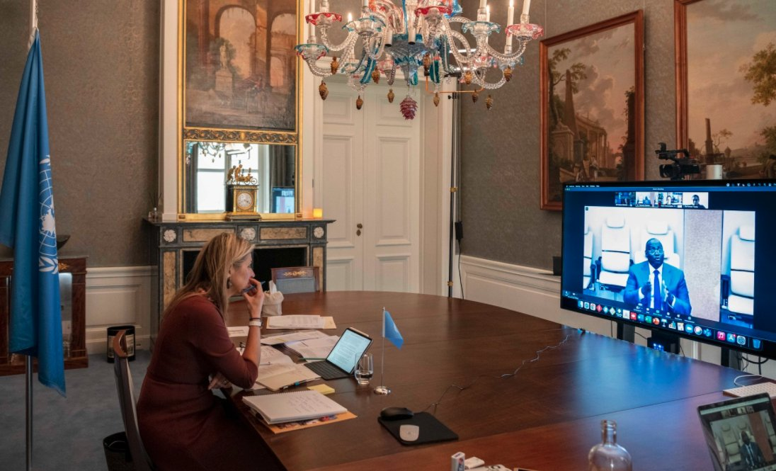 #UNSGSA Queen Máxima & #BCEAO Gov. Koné follow up last month's bilateral, highlighting potential #financialinclusion reforms at a regional level, among other topics, during today's virtual country visit with #Senegal.