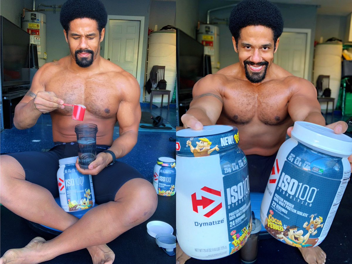 """To me """"drink responsibly"""" means """"don't spill your damn protein shake."""" 😋 Yabba Dabba Doo! My favorite cereal as a kid now made into a 100% Whey isolate in Fruity and Coco Pebbles Flavors is now available @dymatize and taste just like the real cereal! 💯 #blockthehate"""