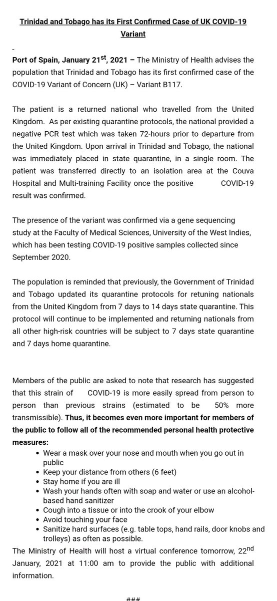 Trinidad and Tobago has its First Confirmed Case of UK COVID-19 Variant