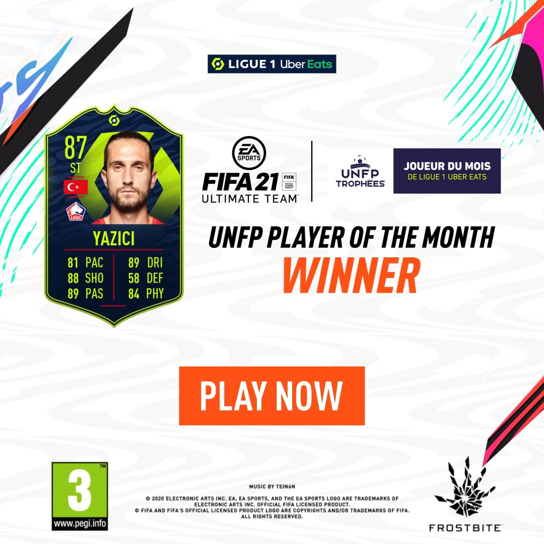 Introducing your December's @UNFP @Ligue1UberEats #POTM...  A month to remember for @LOSC_EN's striker Yusuf Yacizi 🔥  #TropheesUNFP #FIFA21 #FUT