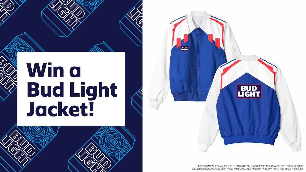 🚨 Giveaway Alert 🚨 RT this tweet and follow @budlight for the chance to win this awesome track jacket! It's the perfect gift for the washed up athlete in your life. #sweepstakes