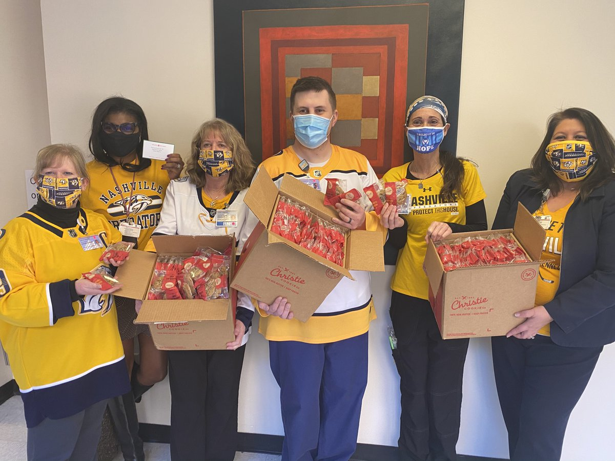 """A big """"Thank You"""" to the @PredsFoundation and @PredsNHL for the delicious @christiecookie delivery to our hospital 🍪🏥  We appreciate your generosity and we stand with all Frontline heroes as we continue to keep #Smashville safe 🏒💙 #HereForGood"""