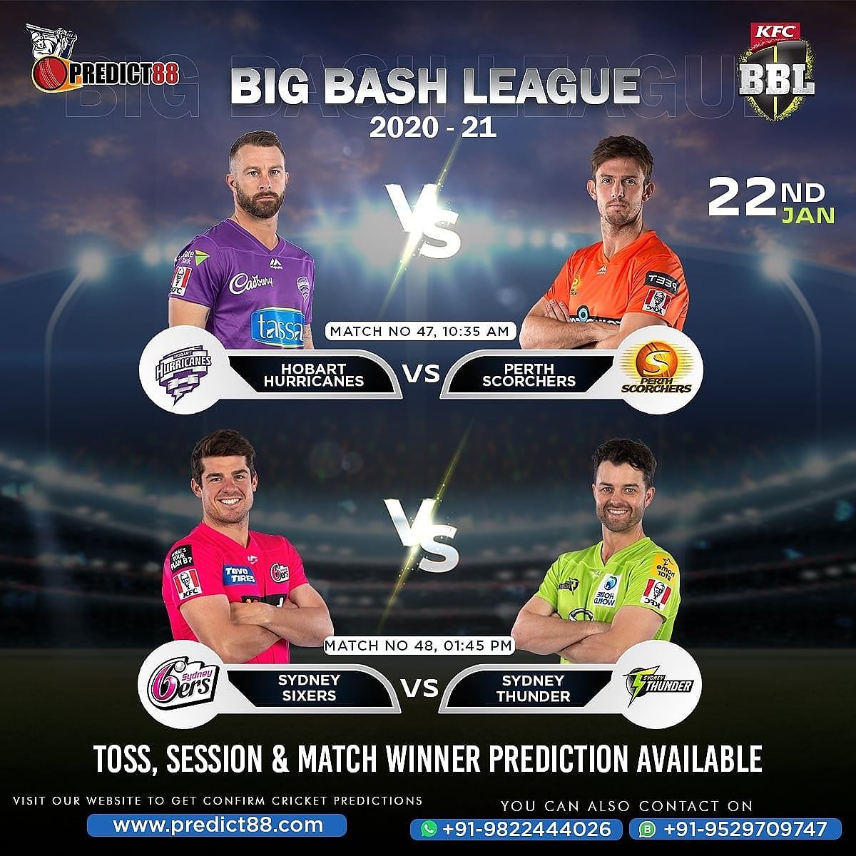 47th Match (10:35 AM) Hobart Hurricanes vs Perth Scorchers  48th Match (1:45 PM)  Sydney Sixers vs Sydney Thunder  Full Match Report (Toss, Session & Match Winner) Of Big Bash League Is Available On Website. For More Information Contact on Whatsapp. #predict88 #bbl #bigbashleague https://t.co/tD7ysAX1cL
