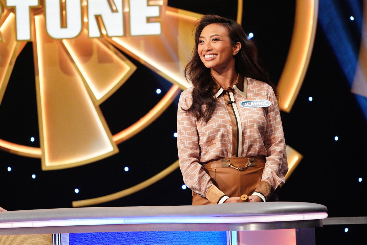 Tonight: @jeanniemai is putting in the work (and the fun!)  during #CelebrityWheelOfFortune!   Watch her compete alongside Rob Riggle and Joe Tessitore for a chance to win $1M for No Kid Hungry.
