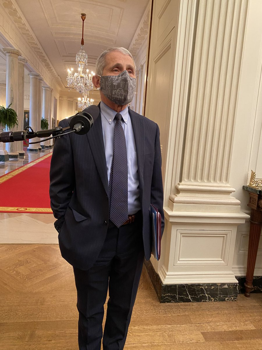 Dr Fauci tells reporters at the White House he got his second vaccination shot on Tuesday and felt under the weather for about a day afterwards but is fine now. https://t.co/stGiLlmEB6