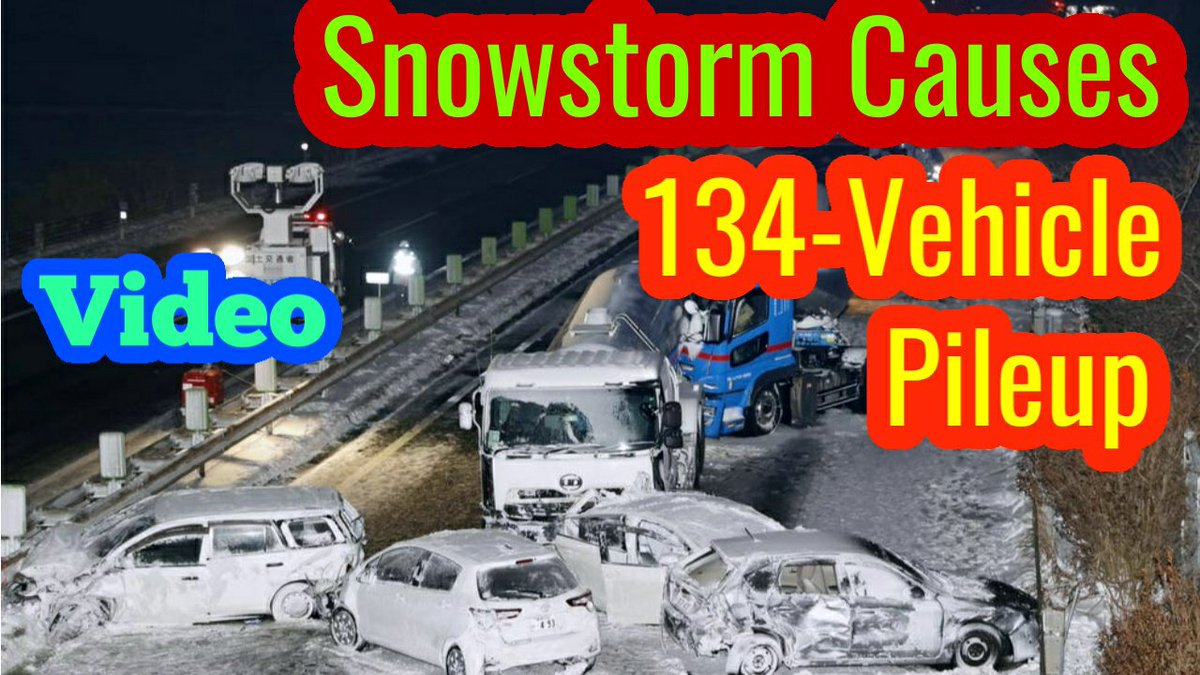 Heart Stopping Video! Heavy Snow Causes 134-Vehicle Pileup On Japanese Highway.  Click the Link for full Video👉   #Snow #Japan #Accident #Tohoku #Osaki #Snowstorm #Viral #Video #whendoesitstop #dragonfruit #thursdaymorning  #Thursdayvibe