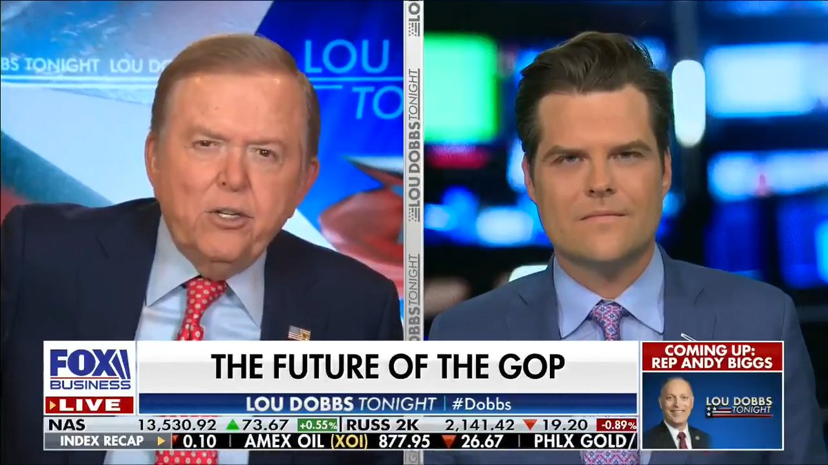 GOP Leadership in Shambles: @mattgaetz says RINOs like Liz Cheney and Mitch McConnell are so beholden to corporate money they will do anything to subvert President Trump and the America First movement.  #MAGA #AmericaFirst #Dobbs https://t.co/VxtMsBjIRR