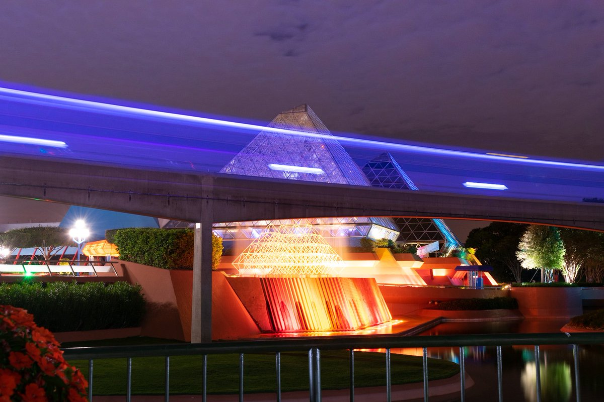 A fun long exposure of the monorail moving in front of the Imagination Pavilion at EPCOT. Ready to get back. #EPCOT #monorail