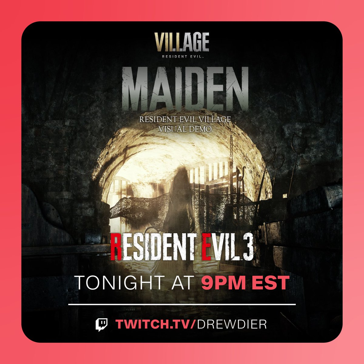 """Calling an audible for tonight's stream. Experience the exclusive #PS5 """"Maiden"""" demo for #ResidentEvilVillage tonight at  continuing my RE3 playthrough afterwards! We will resume Yakuza Kiwami Saturday."""