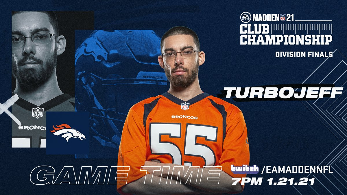 Replying to @BroncosPromos: Game Time! 🎮  Tune in NOW to @Twitch for the @EAMaddenNFL Club Championship featuring Turbo Jeff!