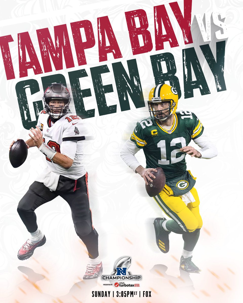 Brady vs. Rodgers for a spot in #SBLV.  Doesn't get better than this.  #GoBucs | #GoPackGo   📺: #TBvsGB -- Sunday 3:05pm ET on FOX 📱: NFL app // Yahoo Sports app