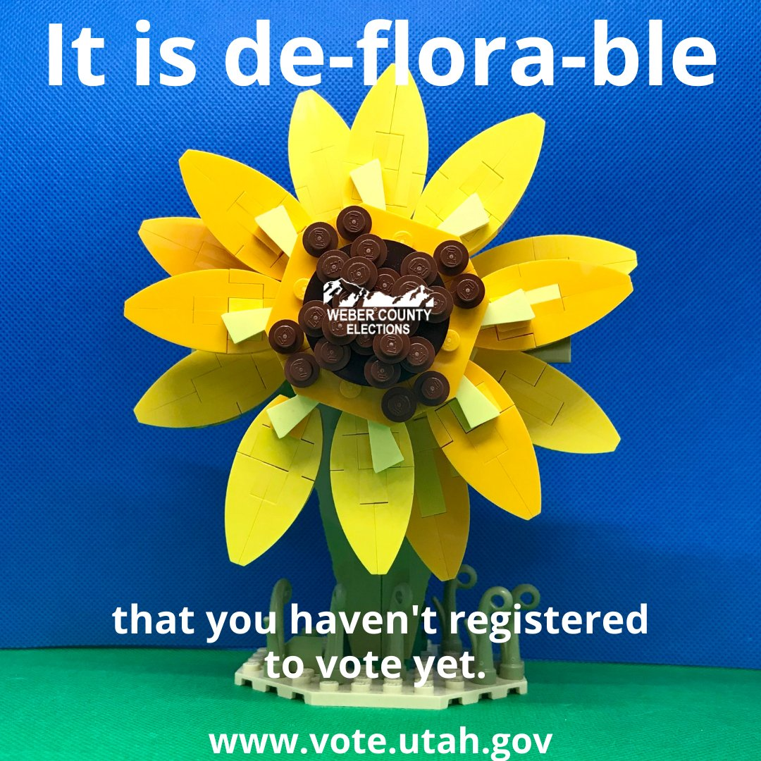 Have you registered to vote yet?   #LEGOMEMES #LEGO #puns #sunflowers #flowerpuns #memes #voterregistration #webercounty #utahvotesbymail #utah #votebymail #register #vote #participate #haveavoice #utahelections #electionsutah