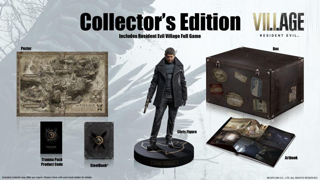 Resident Evil Village contará con ediciones extras: ▫️ Edición Deluxe con varios items como la Samurai Edge, entre otras cosas. ▫️ Edición Coleccionista que trae estatua de Chris Redfield, poster, libro de arte y una caja metálica. Todo guardado en una caja decorativa.