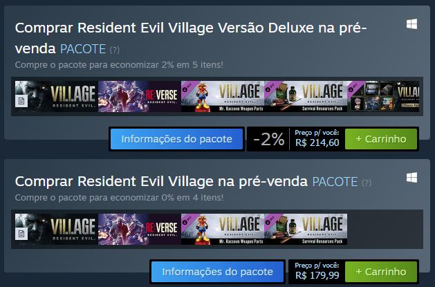 Preços do Resident Evil Village na Steam Brasil. #ResidentEvilVillage #REShowcase #RE8