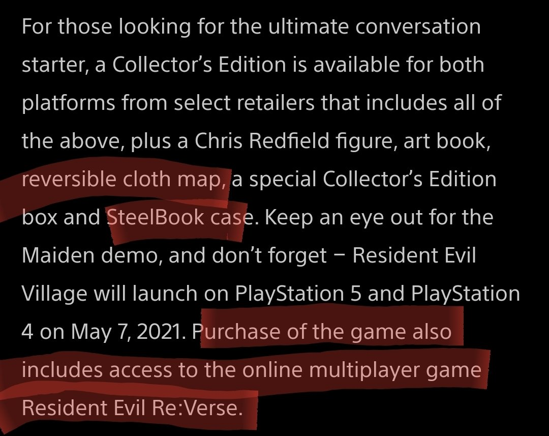 """Diving into the playstation blog revealed a few things I missed during the #REVillage #REShowcase small things like how the """"poster"""" in the collectors edition is actually a double sided cloth map and that RE Verse is a free bonus multiplayer game if you buy REVillage. Awesome."""