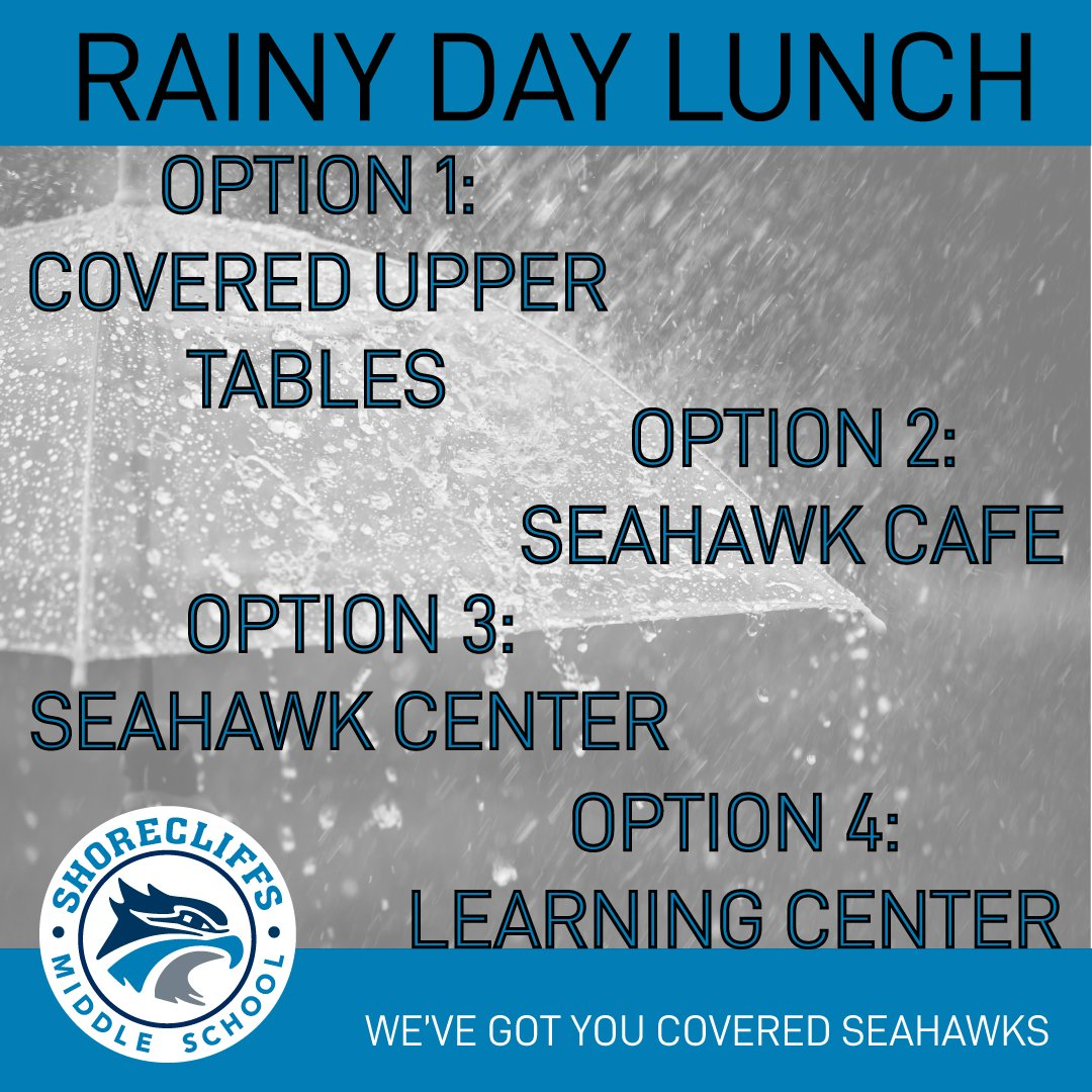 There's rain in the forecast Seahawks, but don't worry, we've got you covered...literally. If it's raining at lunch there are four different areas on campus you can eat and remain dry. #KeepSOARingSeahawks #InThisTogetherSeahawks https://t.co/71CUfhQPf1