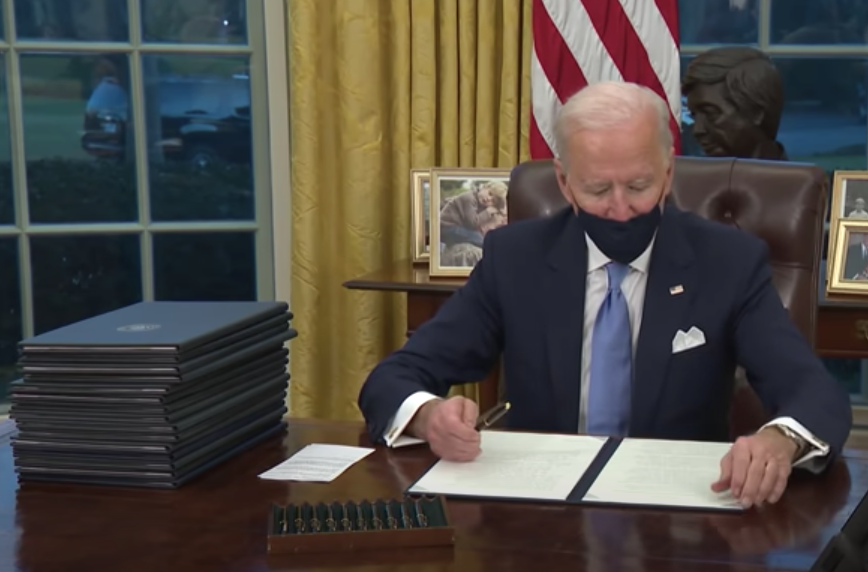 Strangely enough, Biden wore a mask yesterday in the White House when he signed the mask mandate, but not today, when he signed coronavirus bills