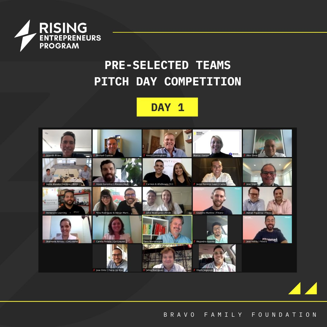 Our pitch competition is over. The 26 pre-selected teams did a great job. Congratulations and good luck to all!   Soon we'll all know the 10 winning teams that will become Cohort 2 participants. #BravoFamilyFoundation #RisingEntrepreneurs