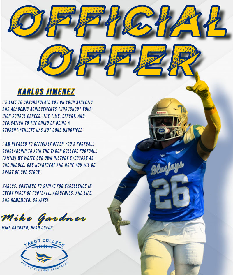 Blessed to receive another offer from Tabor college!🔵🟡 thank you @Coach_Reimer for this great opportunity. #9️⃣ @CoachJC3 @Daygofootball @SpartansHOC