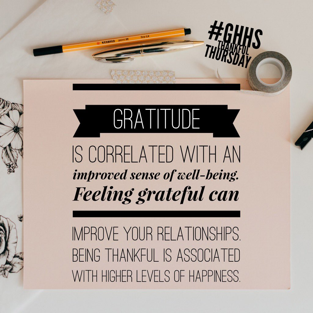 Happy #ThankfulThursday! Gratitude is strongly & consistently associated with greater happiness. It helps people feel more positive emotions, relish good experiences, improve their health, deal with adversity, and build strong relationships #gratitude #grateful #thankful #blessed