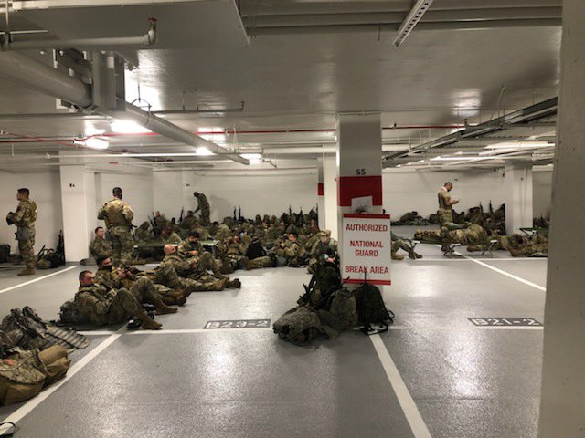 """MILITARY SOURCE IN DC: """"For the last week my battalion has been sleeping on the floor in the Senate cafeteria. Today the Senate kicked us out & moved us to a cold parking garage. 5000 soldiers. 1 power outlet. One bathroom. This is how Joe Biden's America treats solders.""""  PHOTOS"""