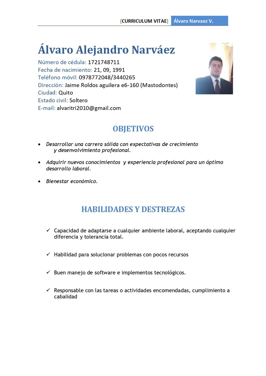 Álvaro Narváez necesita encontrar un trabajo pronto para seguir ayudando a su madre e hija. Disponibilidad inmediata y cualquier trabajo. Ha estudiado negocios internacionales, 10 años de experiencia para áreas de ventas/marketing. RT  📞0978772048 📧alvaritri2010@gmail.com