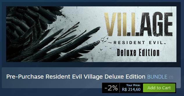 Saiu os preços na Steam! #ResidentEvilVillage