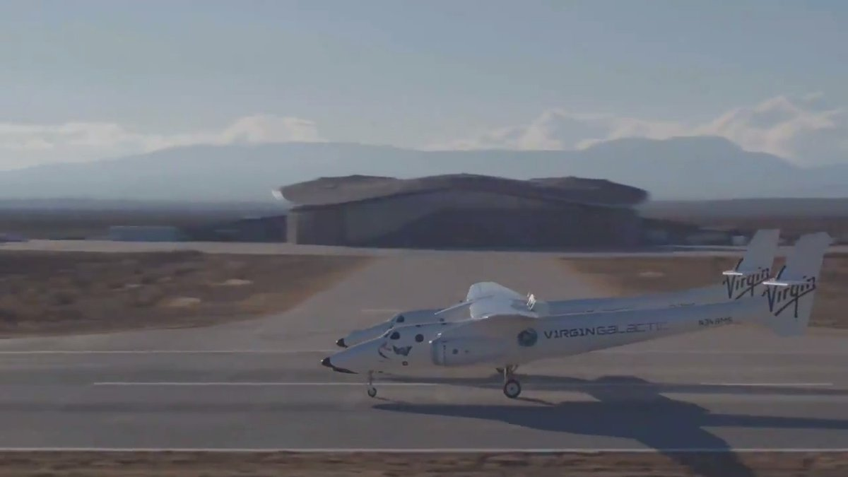 Watch as our mothership, VMS Eve, lands at Spaceport America, New Mexico, today. It was a beautiful day for flying!
