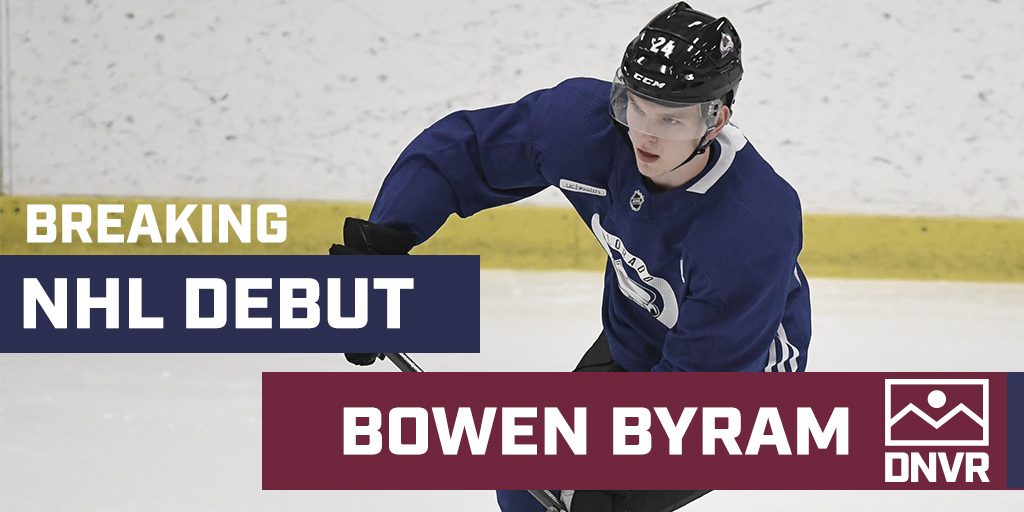 BREAKING: It's happening. Bowen Byram will make his NHL debut tonight for the Avalanche. #GoAvsGo