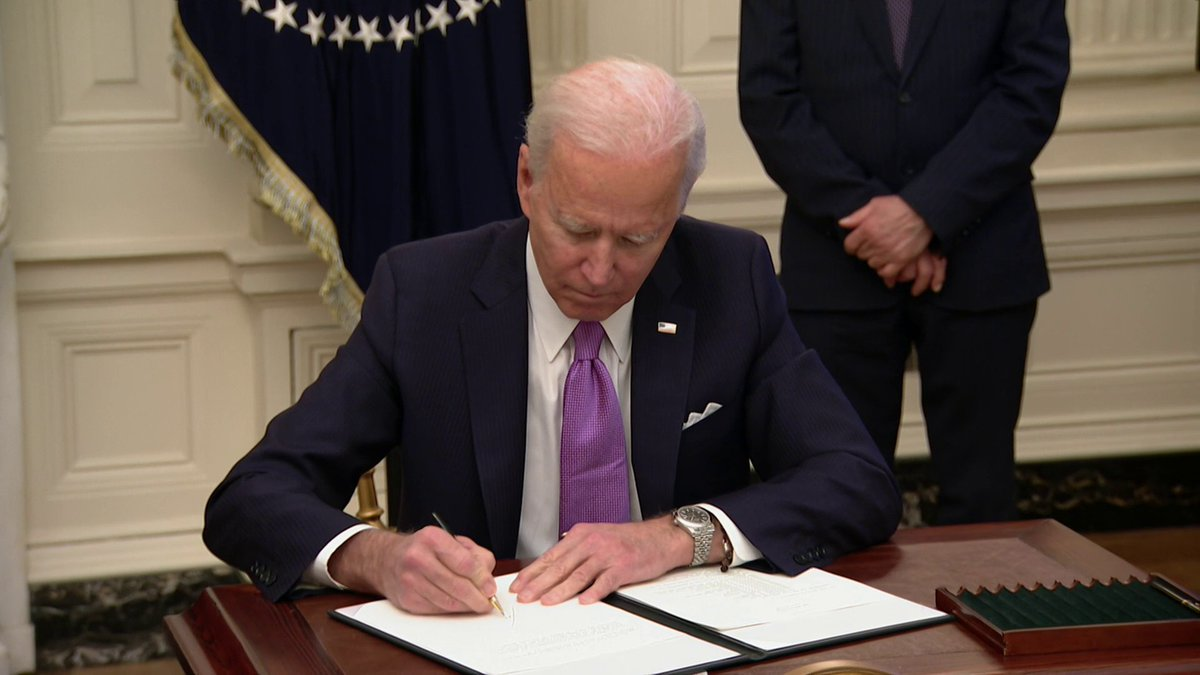 """BREAKING: Pres. Biden signs executive actions on coronavirus response, including invoking Defense Production Act """"to direct all federal agencies and private industry to accelerate the making of everything that's needed to protect, test, vaccinate, and take care of our people."""""""