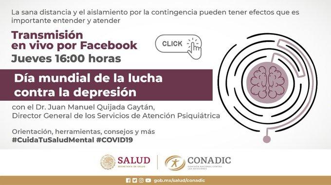 Hoy Fb Live de Dia Mundial de la Lucha contra Depresión. https://t.co/DJndhIBmu2