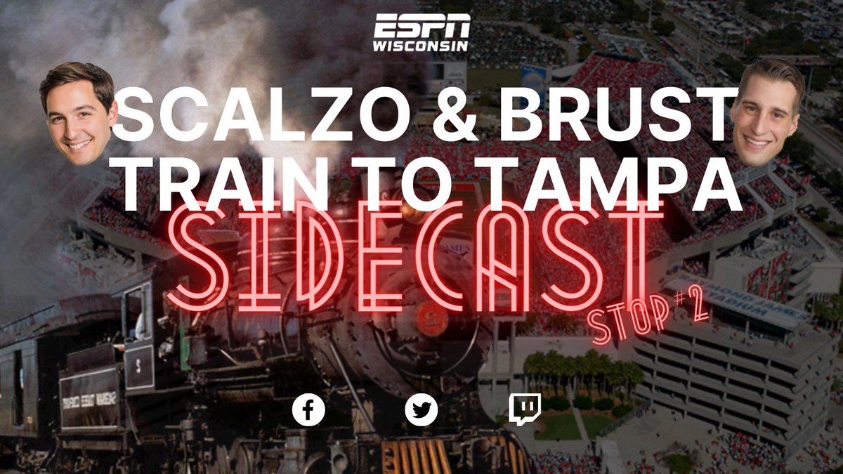 We're rolling into Stop #2 on the Scalzo and Brust Train to Tampa Bay!   Arrival time is Sunday at 2pm across all social platforms.   Chugga chugga CHOO CHOO 🚂