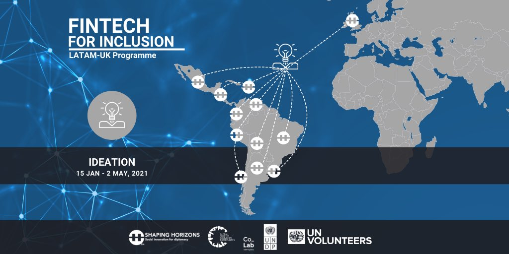 Today is the kick-off of the #ideation phase of #FintechForInclusion! After thorough research, 12 teams from 15 countries of #LatAm and #UK will start designing solutions to #FinancialInclusion challenges using #InnovativeTools from #ShapingHorizons!