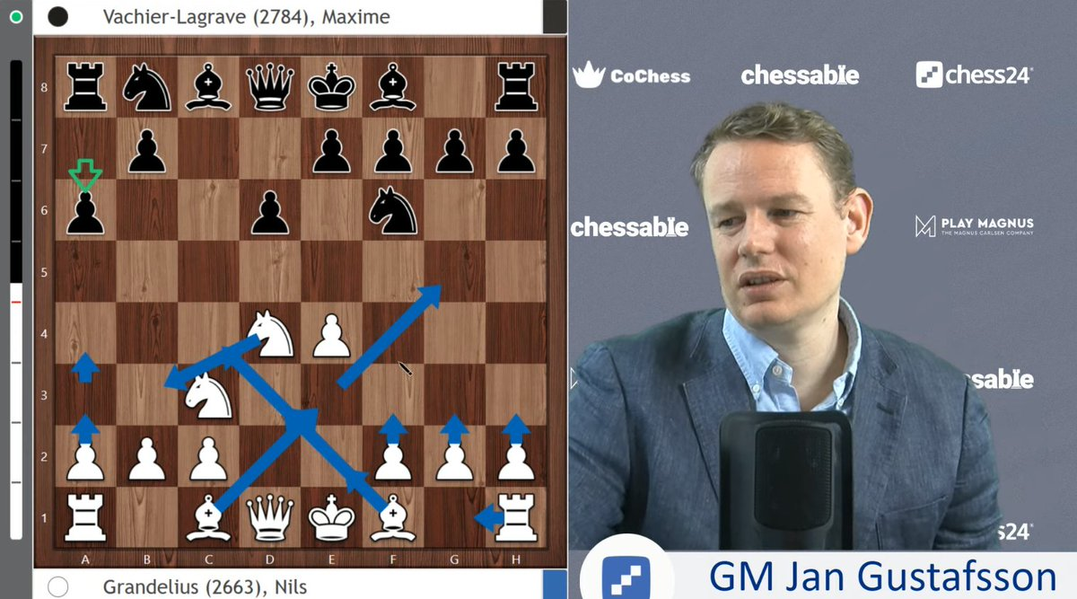 test Twitter Media - Nils Grandelius today beat MVL in the Najdorf to take the sole lead in #TataSteelChess!   @GMJanGustafsson takes us through the game, while demonstrating refined arrow-drawing skills: https://t.co/r9rZ4q5Nxp https://t.co/BZAEBghF5G