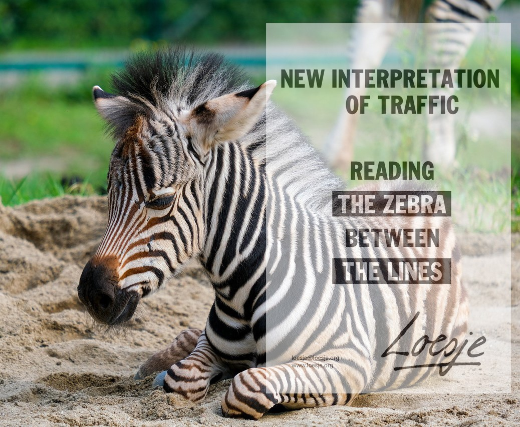 NEW INTERPRETATION OF TRAFFIC / READING THE ZEBRA BETWEEN THE LINES #Traffic #zebra #TrafficRules #StreetArt #StreetsofDreams #PavementsForPeople #city #animals #AnimalOfTheDay #AnimalCrossingDesign #animalkingdom #loesje #loesjint