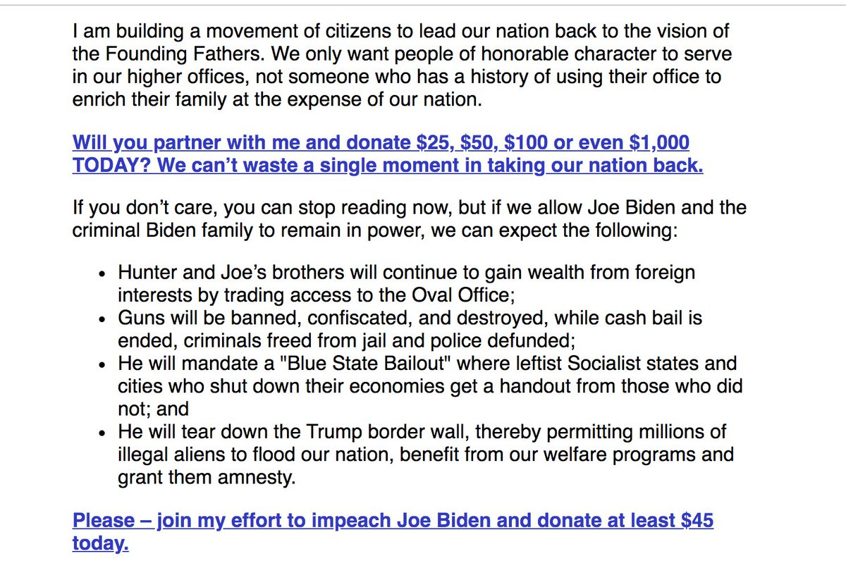 It begins. @mtgreenee is fundraising off her effort to impeach @JoeBiden. Will GOP rubes fall for this?