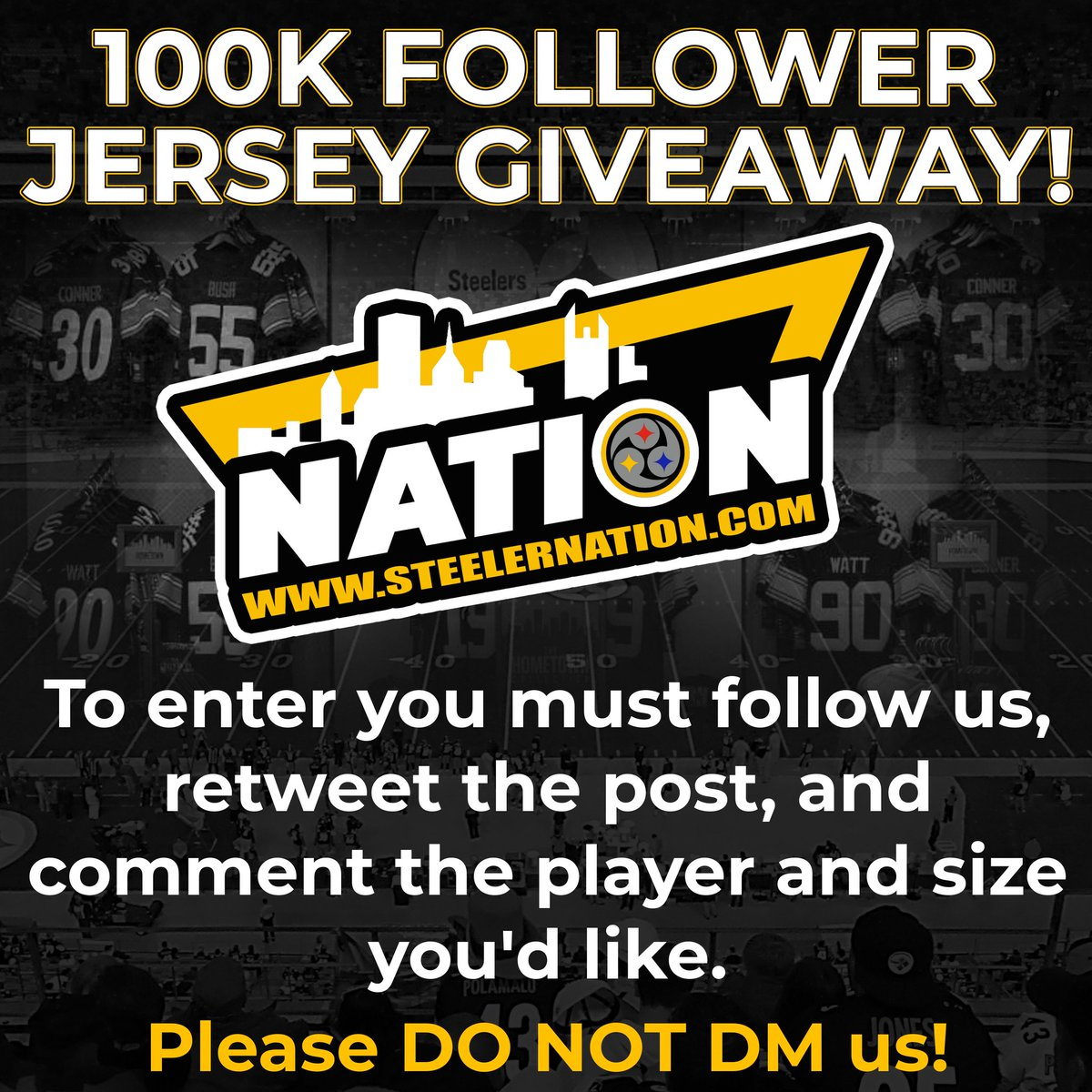 #SteelerNation we're less than 2,000 followers away from 100k so let's celebrate when we hit that mark with a jersey giveaway.   To win you must follow us, and RETWEET this post   Comment what player, and size jersey you'd like to receive if you're picked! #Steelers