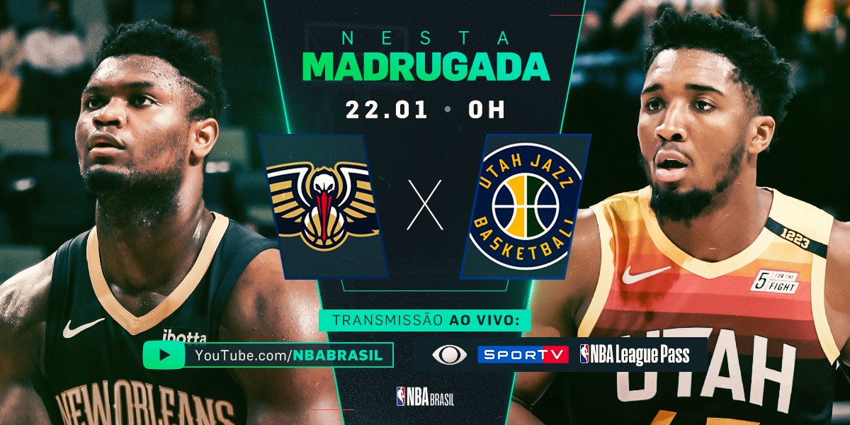 A madrugada promete com o duelo entre @PelicansNBA e @utahjazz ao vivo no YouTube (https://t.co/Fc77pewAz0)! Confira também na @BandTV e no @SporTV!   #NBAnaBand #NBAnoSporTV #WontBowDown #TakeNote https://t.co/HrwibX9hao