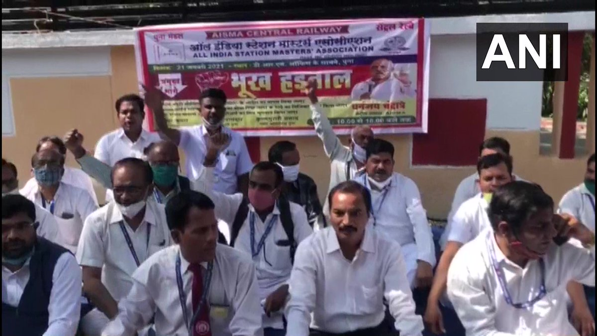 Maharashtra: Railway Station Masters staged a protest outside Divisional Railway Manager's office in Pune over various demands including restoration of night allowance.   (21.01.2021)