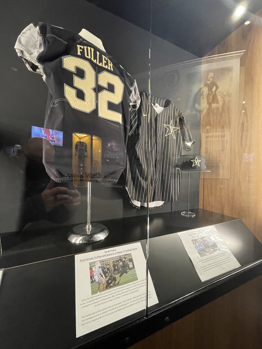 NEW at the TN Sports Hall of Fame: @SarahFuller_27's @VandyFootball jersey from the 2020 Season. Fuller is the first female to play and score in a Power 5 Football Game, and we're thrilled to have that achievement represented in the Hall.  Free admission thanks to @CurbRecords