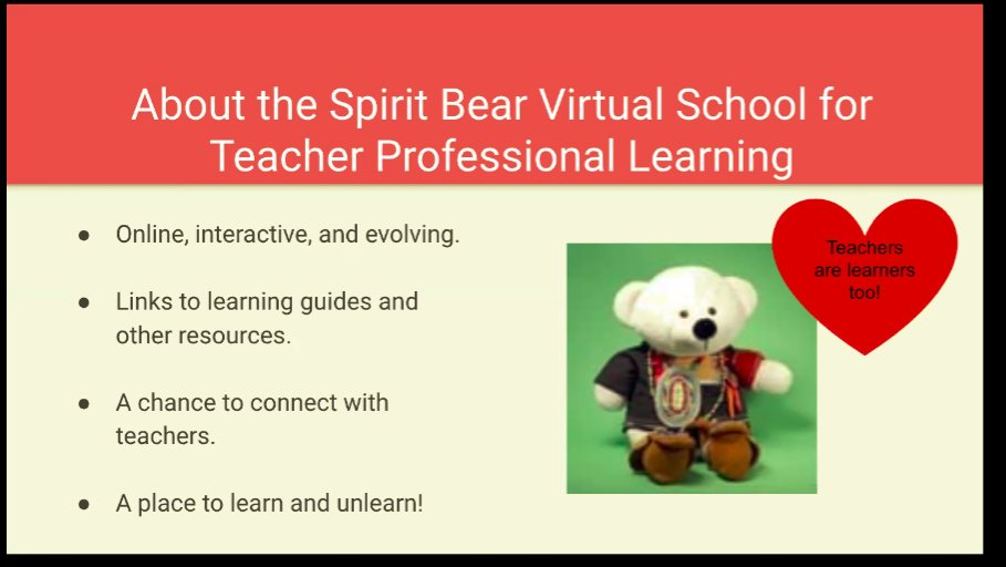 Excited to be learning about Spirit Bear Virtual School! Thank you @CaringSociety @SpiritBear @MsLisaHowell @nick_ngafook for providing educators a place to connect!