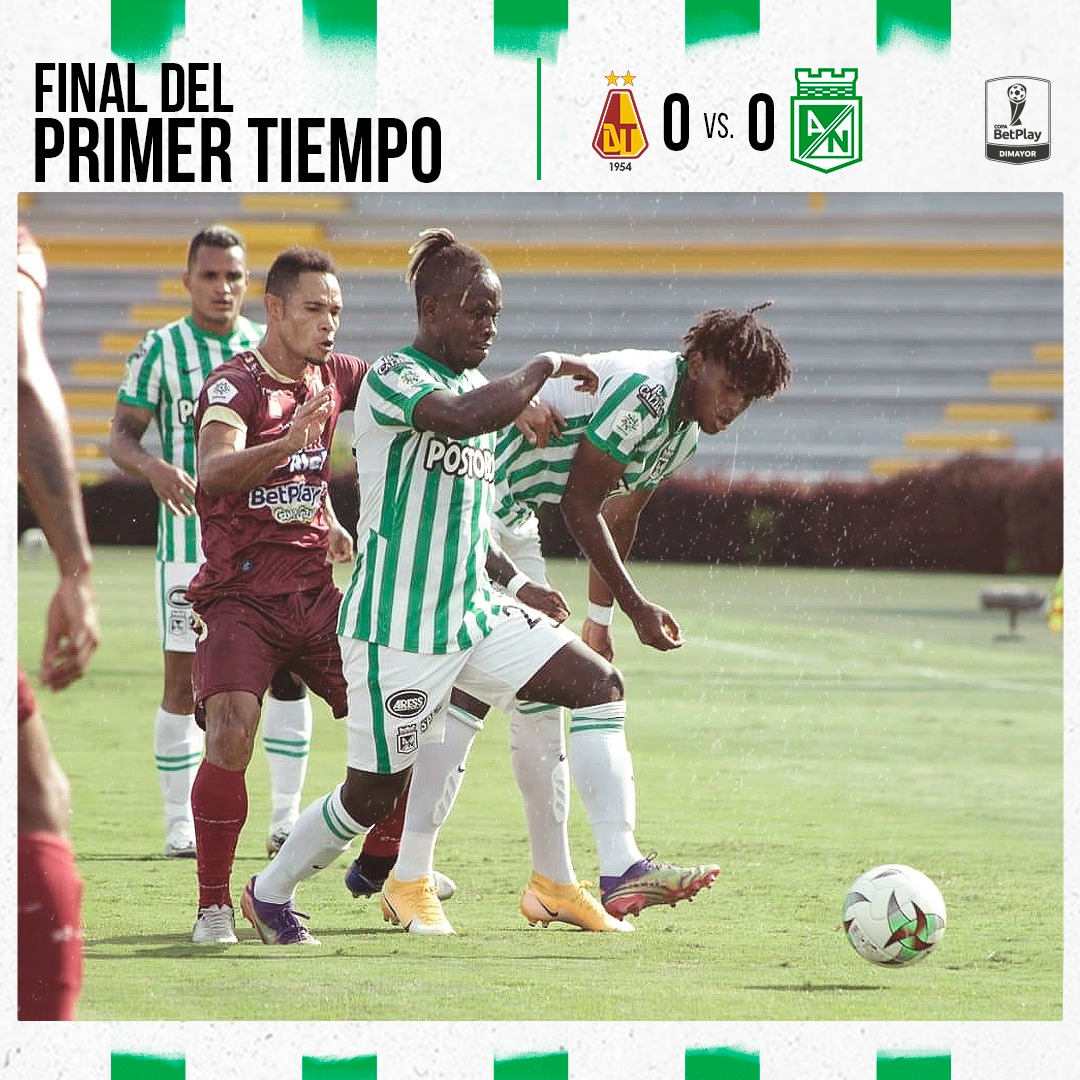 TOL Vs. NAL | ⏱️ | 45+3' | 0 - 0 | Termina el primer tiempo, Nacional y Tolima empatan a cero goles. ¡Vamos Verde! 🇳🇬 🇳🇬 #VamosNacional https://t.co/Yyux8gFcSg